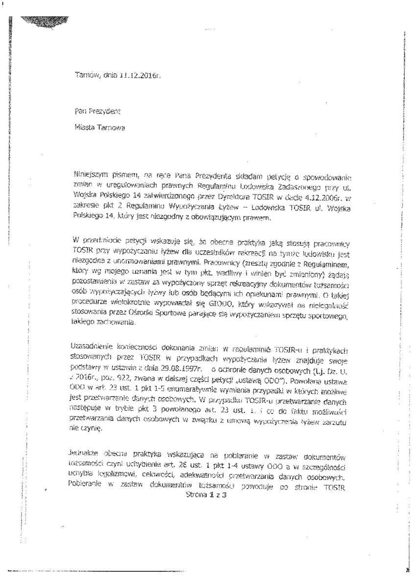Petycja do Prezydenta Miasta Tarnowa z dn. 11.12.2016 r.